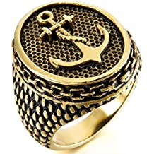 MunkiMix Acero Inoxidable Anillo Ring Oro Dorado Tono Negro Ancla Náutico Hombre