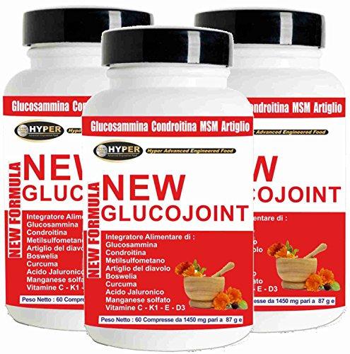 Glucosamina Coindroitina MSM Acido Ialuronico 3 BOX 60 compresse Integratori Dolori Articolari Artrosi Salute delle Articolazioni Elevato Dosaggio Artiglio del Diavolo Curcuma Boswellia Manganese