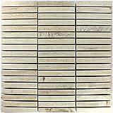 Mosaikfliesen Loures Holzoptik Beige | Wandfliesen | Mosaik-Fliesen | Glas-Mosaik | Fliesen-Bordüre | Ideal für den Wohnbereich und fürs Badezimmer (auch als Muster erhältlich)