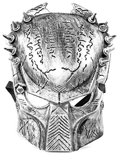 Predator-Maske Hell-Grau mit Yautja (Raub-Tier) Hunter Jäger Symbolen Sonderausgabe Bio-Mask