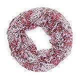 MANUMAR Loop-Schal für Damen | Hals-Tuch in Weiß mit Blumen Motiv als perfektes Herbst Winter Accessoire | Schlauchschal | Damen-Schal | Rundschal | Geschenkidee für Frauen und Mädchen
