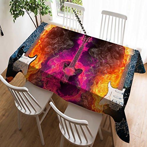 Violetpos Mantel lino mantel Lino Cuidado fácil lavable antimanchas S de ropa de mesa Guitarra Alma Fuego jeringuillas, algodón, rojo, 100 x 140 cm