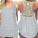 SANFASHION donne estate pizzo mosaico Belle strisce top a maniche corte Casual T-shirt, Donna, AB-122, grigio chiaro, L