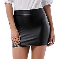 Minigonna da donna effetto pelle, sexy, effetto lucido, elasticizzata