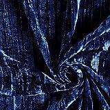 Fabulous Fabrics Pannesamt Crash blau — Meterware ab 0,5m — zum Nähen von Abend- und Partymode, Röcken und Kleidern