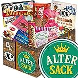 Alter Sack | DDR Geschenkbox | DDR Suessigkeiten-Box mit Puffreis-Schokolade, Liebesperlenfläschchen, Othello Keks Wikana uvm.