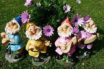 Lustiger Gartenzwerg mit Wackelkopf rosa Mütze 22 cm bunte Zwerg Figuren für Haus und Garten Gnom Mütze Rot