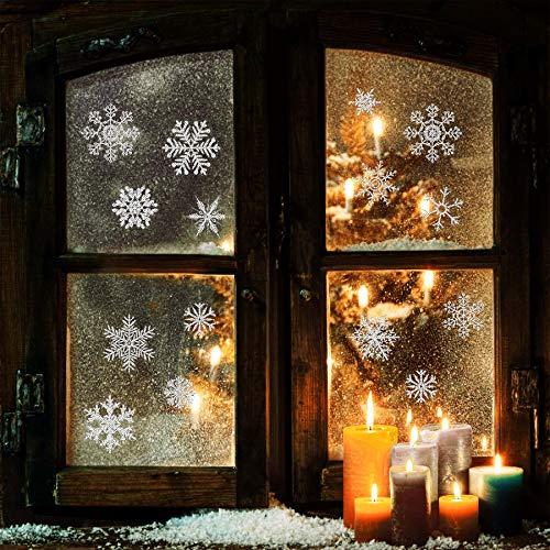 Yuson Girl 56 Stk Funkeln Schneeflocken Fensterbild Abnehmbare Weihnachten Aufkleber Fenster Weihnachten Deko Wandtattoo Weihnachten Statisch Haftende PVC Aufkleber (Schneeflocke-aufkleber Funkeln,)