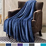 Bedsure Flannel Fleece Throw Blanket Travel/Single Size Navy Blue Warm Blankets - Plush Bed Throw for Sofa and Couch, Soft Cozy Microfiber Solid Blanket 130x150cm