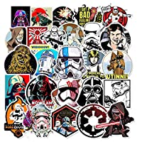 ‏‪Stickers for Films Series Star Wars 50 Packs for Luggage Case Moto Bicycle Car Bumper Water Bottles Laptop Hydro Flask Refrigerator Computer Phone Mac Pad for Boy Men Adult TV Movie Fans‬‏