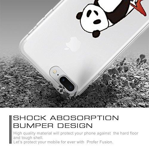 iPhone 7 Plus Hülle, Qissy®Cute panda series Transparent Weiche Silikon Schutzhülle mit Niedlich Muster für Apple iPhone 7 plus 8