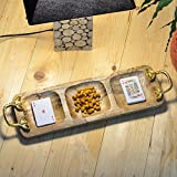 #5: Casa Décor Mango Wood Handcrafted Serving Tray for Dining Tableware, Table Decor Tray with Gold Plated Inlay Metal Handles