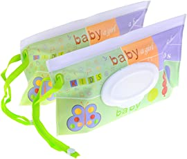 Baradu 2pcs Wet Wipe Pouch Travel Wipes Case Reusable Refillable Wet Wipe Bag Cases Portable Travel Wipes Dispenser Wipe Pouches for Baby