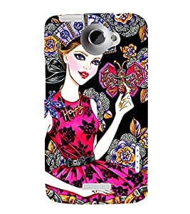 BEAUTIFUL GIRL WEARING DIAMOND JEWELLERY HOLDING BUTTERFLIES IN A VICTORIAN BACKGROUND 3D Hard Polycarbonate Designer Back Case Cover for HTC One X :: HTC One XT :: HTC 1X
