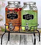 Raincart Imported Glassware Mason Jar Beverage Dispenser, set of 2, Each 3 ltr