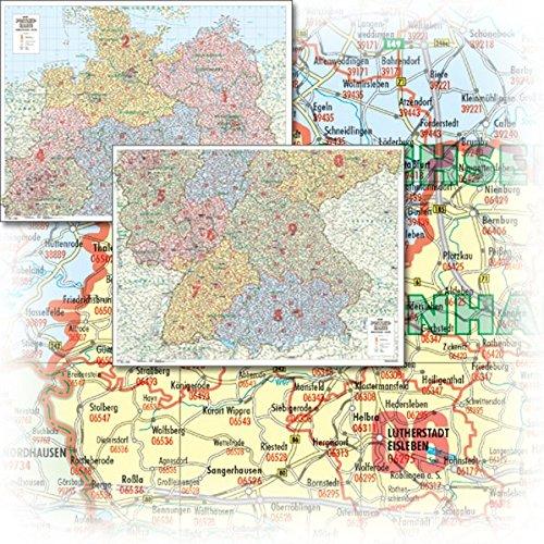 BACHER Postleitzahlenkarte Deutschland Maßstab 1:500 000, Papierkarte gerollt: Die Postleitzahlenkarte Deutschland beinhaltet 1- und 2-stellige ... bei jedem kartographisch erfassten Ort.