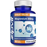 Magnesium 500mg, 90 Vegan Tablets. 3 Months Supply. Supports Muscle and Bone Health. Vegan and Vegetarian Formula.