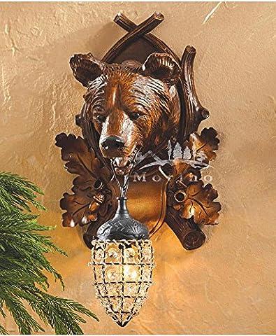 OOFWY E27 Tierkopf Wandleuchte Retro Kreativ für Hotelbar Wohnzimmer Schlafzimmer Korridor Dekoration Harz Pferd Bär Hirsch Eisen Kristall Halterung Leuchten , A