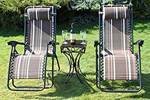 Lot de 2 fauteuils de jardin inclinables insectes en métal 2 chaises avec TABLE d'appoint 25.99 en Textoline étanche Marron à rayures