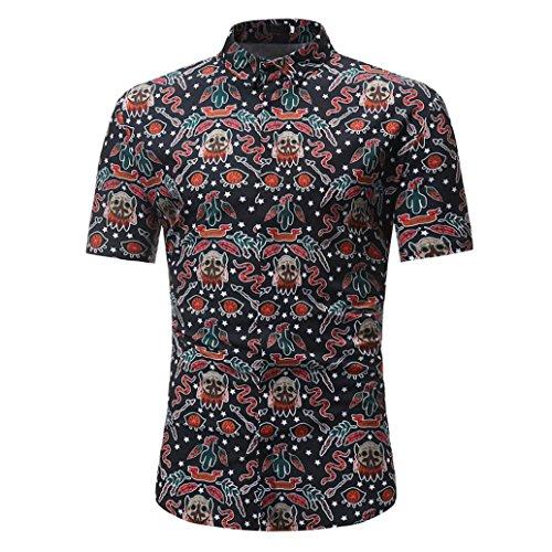 MRULIC Herren Sommer Poloshirt T-Shirt Hemd Stickerei Baumwolle Party Polohemd Strandkleidung Tops (A-Schwarz,EU-52/CN-L)