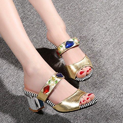ZYUSHIZ Cool de diamants synthétiques fendus, sandales Chaussons Chaussons L'or