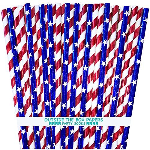 Außerhalb der Box Papier rot, weiß und blau Sterne und Streifen Folie Papier Trinkhalme 19,7cm 100Stück rot, weiß, blau (Sterne Blau Rot Weiß)