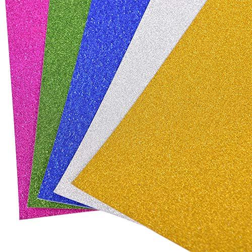 Creator Zone Glitzerkarten-Blätter, 16 Stück, 2 x 8 Stück, A4, Glitzer, 5 Farben für Dekoration, Kunst und Handwerk