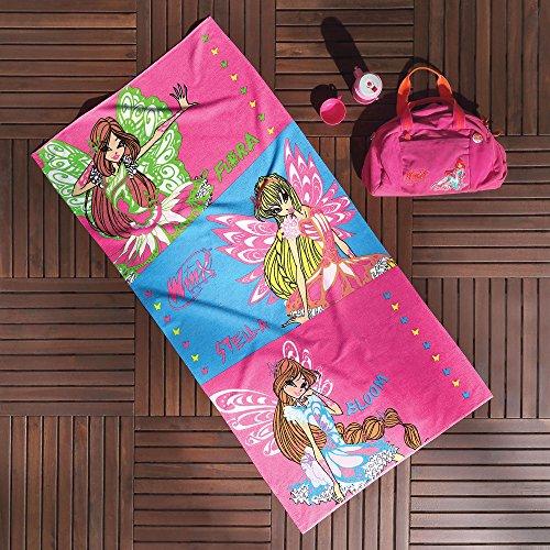 Ti Home Winx Prinzessinnen rosa Wanne Strandtuch für Schwimmen, Pool, Yoga und Spa (75x 150cm), Luxus Cartoon-Zeichen bedruckt 100% reine Baumwolle