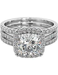 925 Sterling Silver 3-PIECE Cushion Cut Wedding Engagement Bridal Ring Set