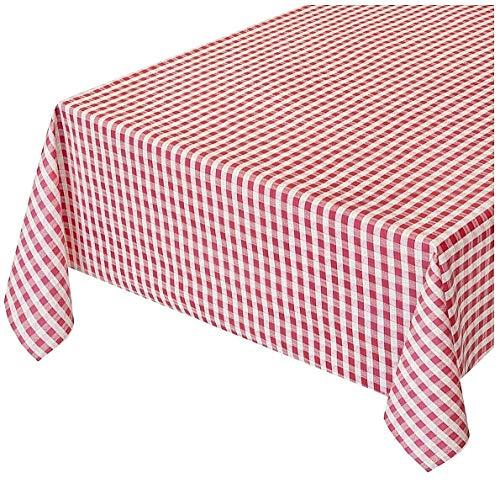 Emmevi tovaglia cucina antimacchia effetto tessuto cotone morbido plastificata ultra resistente su misura quadretti rossi mod.touch 7 140x240