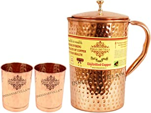 Indian Art Villa Copper Pitcher with 2 Glasses 2.1L (Brown)