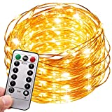Fata a corda leggera, MMTX 100 a pile Luci decorative per feste a LED Bianco caldo colorate 8 modalità Filo di rame 32ft / 10M (Batteria)