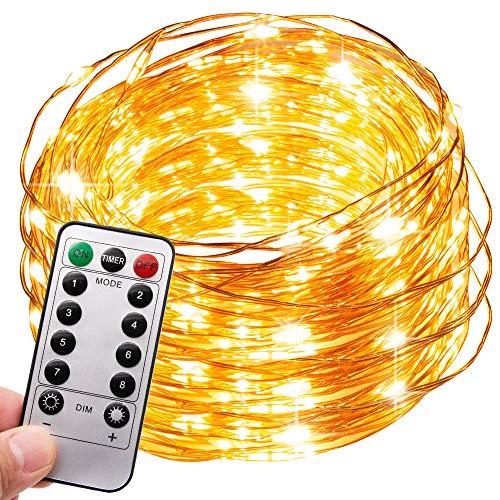 MMTX 100 Micro LED Lichterkette mit Batterie Lichterketten Außn Warmweiß 8 Modi Wasserdichter Kupferdraht 10M Weihnachtsbeleuchtung für Weihnachten, Halloween, Hochzeit Party Beleuchtung Dekoration