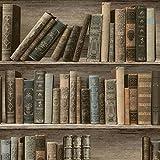 Muriva L32007classique Bibliothèque papier peint-Sépia