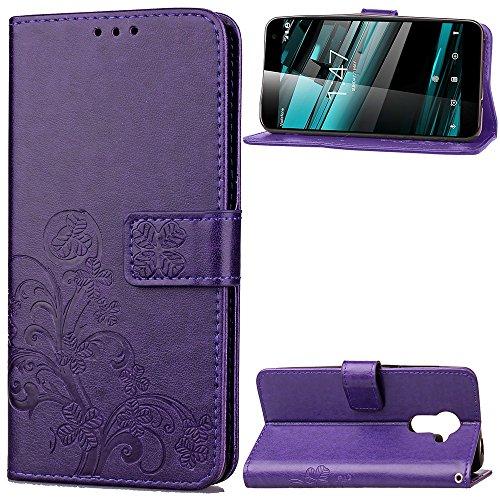 EKINHUI Case Cover Double Magnetic Back Sucktion Retro Style PU Leder Flip Stand Case mit Kickstand und Wallet Beutel Funktion für Vodafone Smart Platinum 7 ( Color : Purple ) Purple