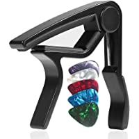 WINGO Quick-Change capo for Acoustic and Electric Guitars with 5 Picks for Free, Black