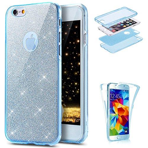 Coque iPhone 6 Plus ,Coque iPhone 6S Plus, Coque Silicone Gel 360 Protection intégral iPhone 6/6S Plus Glitter Etui,Ukayfe [Full-Body 360 Coverage Protective] Bling avec brillants Glitter Paillette Ho Bleu