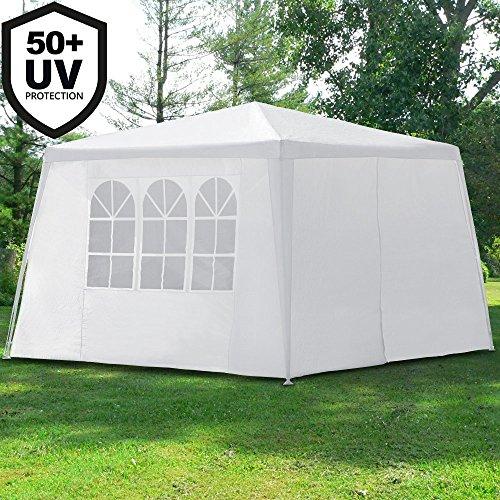 Deuba Pavillon 3x3m Festzelt Partyzelt Gartenzelt weiß | 9m² | Wasserabweisend | Einfache Montage...