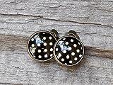 Vintage CABOCHON Ohrclips - schwarz cremeweiß gepunktet - bronze - Punkte - dots - Ohrringe - 12mm-Motiv - Clips - Clipse
