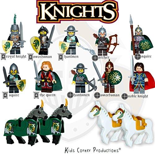 ons® - KÖNIGLICHE RITTER | 10 Minifiguren Set + 4 Pferde - Mittelalterliche Heldenritter | Pferde, Schilde, Schwerter und Ständer Spielzeug Baustein (Spielzeug Schilde Und Schwerter)