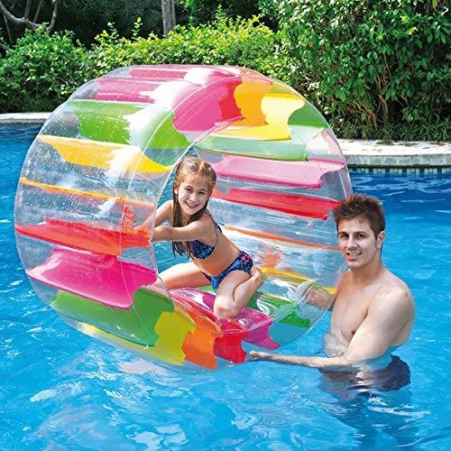 Zhimeixiangtong Zorbing Ball, 90 cm Wasser-Rollrolle, Zorbing Rad Kinder, Aufblasbares Lauf-Rad Walzenrad zum Aufblasen Mehrzweck Krabbeln Roller Puzzle Eltern-Kind-Spielzeug