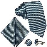 GASSANI 3-SET Blaugraue Krawatte Streifen gestreift | Binder Grau-Blau Manschettenknöpfe Einstecktuch | Krawattenset zum Anzug Seide-Optik