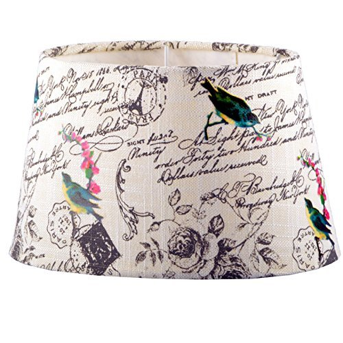 Lampenschirm Stoff Textil Leinen Shabby Chic Landhaus Lampe Schirm NEU (Vögel, Oval)