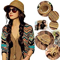 Coogel --Boho Lady Panama Colorful Women Striped Foldable Straw Hat Beach Summer Sun LC
