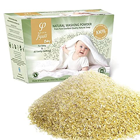 Washing Powder For Newborn / Baby Clothes – Produced From 100% Pure & Natural Grated Olive Oil Soaps Enriched With Chlorophyll, Chamomile Extract, Lavender & Calendula. Suitable for Washing Machines and Washing by Hand - Ideal For The Whole Family, In Particular For People With Skin Problems and Allergies - Buy 2 & get FREE