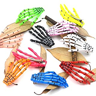 AngelaKerry 10pcs Mix 10 Colors Skeleton Hand Bone Hair Clip Hairpins for Halloween Party (Pack of 10pcs - Random Colors)