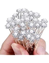 Coscelia Lot de 40 Bijoux Epingle à Cheveux Perles Fleur Cristal Pour Marriage Soirée Anniversaire