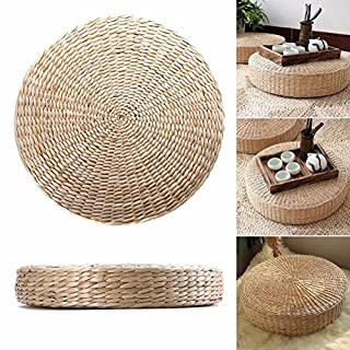 GEZICHTA Grass Cushion, Woven Straw Cushion Round Pouf Tatami Yoga Seat Pillow Floor Mat, Dining Room Home Decoration For Living Room Garden