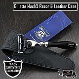 Herren Shaving Gillette Mach3Rasierer in schwarz & Echtes Leder Schutztasche | Herren Rasierpinsel & Pflege > Gents Travel Essentials–Geschenk für ihn