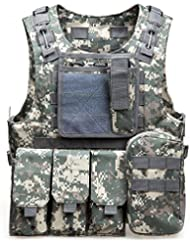 Tactical Molle aire suave chaleco de paintball combate suave chaleco táctico militar MOLLE táctico al aire libre chaleco para juegos al aire libre Caza y tiro, ACU Camouflage